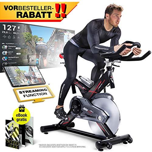 Sportstech VORBESTELLER Profi Indoor Cycle SX400 -Deutsche Qualitätsmarke-mit Video Events & Multiplayer APP, 22KG Schwungrad, Pulsgurt kompatibel-Speedbike mit leisem Riemenantrieb-Ergometer