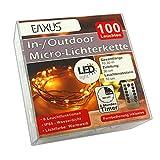 LED Deko Lichterkette Batterie Innen/Außen Fernbedienung 100 Leuchten | Timer Lichterdraht Outdoor/Indoor | Drahtlichterkette Leuchtdraht