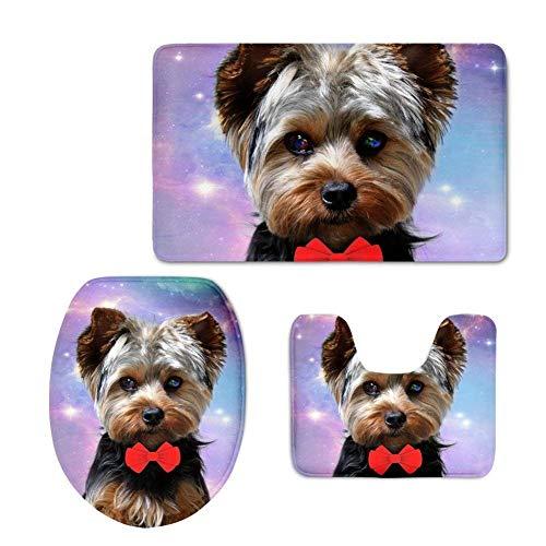 Nopersonality 3-Teiliges Badezimmer Set Funny Yorkshire Terrier Bedruckt Badematte + WC Vorleger + WC Deckelbezug mit Rutschfeste Unterseite