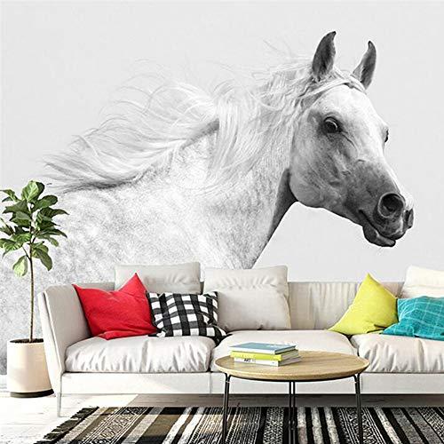 YUANLINGWEI Wandbild Tapete 3D Benutzerdefinierte Foto Moderne Einfache Stil Wandbild Tapete Künstlerische Weiße Pferd Tier Muster Für Wohnzimmer Schlafzimmer,100Cm (H) X 200Cm (W)