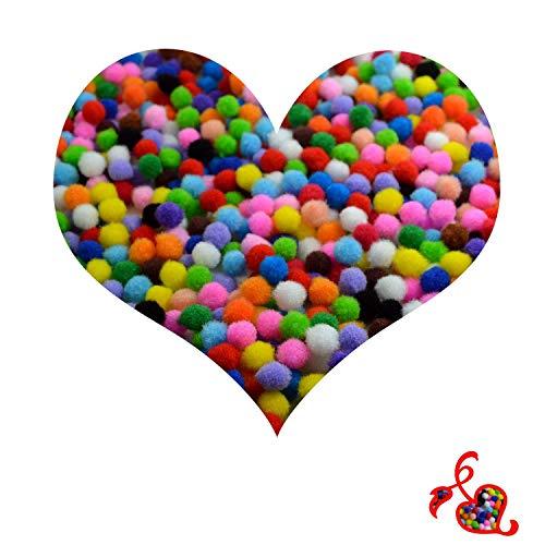 LEEQ 1000PCS Pompon per bricolage e Hobby Supplies, Pom-Pom 1.0cm/1cm, Colori Assortiti
