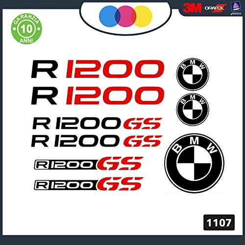 KIT 9 ADESIVI PER MOTO -NERO-ROSSO -BMW R 1200 GS - rally touring sticker decal Moto Cod. 1107