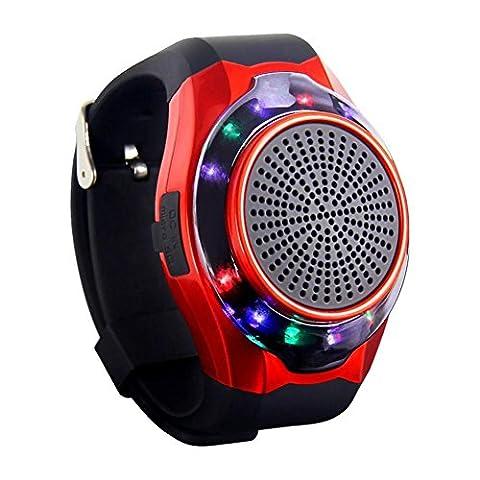 Joyeer Smart Watch Lautsprecher Blenden Licht mit sieben Farben Remote Kamera Wireless Stereo Subwoofer FM Radio Musik TF Karte Spielen Hands-free Call Anti-verloren Alarm Sport Watch , red