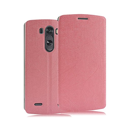 Heartly Premium Luxury PU Leather Flip Stand Back Case Cover For LG G3 G-3 D850 D855 – Pink
