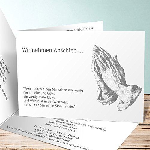 Einladungskarten Beerdigung, Betende Hände 35 Karten, Horizontale Klappkarte 148x105 inkl. weiße Umschläge, Grau