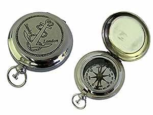 Brass Anchor Compass - Push Button Pocket Compass - 46mm dia