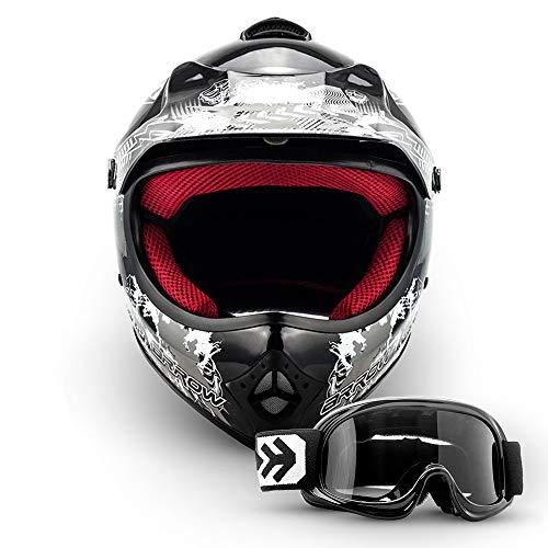 Armor · AKC-49 Set 'Black' (black) · Casco Moto-Cross · Motocicletta Racing Off-Road Bambino Scooter Quad · DOT certificato · Click-n-SecureTM Clip · Borsa per il trasporto · M (55-56cm)