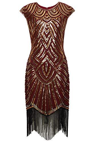 BABEYOND Damen Kleid voller Pailletten 20er Stil Runder Ausschnitt Inspiriert von Great Gatsby Kostüm Kleid (Weinrot Gold, M (Fits 80-84 cm Waist))