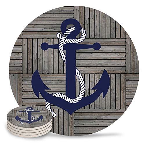 JasmineM Keramikuntersetzer Set, Vintage, Retro, nautischer Anker