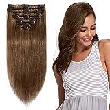 Clip in Extensions Echthaar günstig Haarverlängerung Remy Echthaar 8 Tressen 18 Clips Glatt 20cm-65g(#6 Mittelbraun)