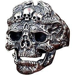 Abierto de cabeza con dragones plata de ley 925 negro gótico para hombre mujer