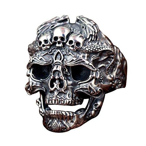 Anillo abierto de cabeza de calavera con dragones plata de ley 925 negro gótico para hombre mujer