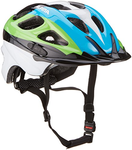 Alpina Unisex - Kinder Fahrradhelm Rocky, black/blue/green, 52-57, 9629138 (Kid-bike-helm-auto)