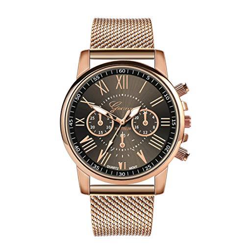 YEARNLY Damen Uhr Armbanduhr Frauen Multi Zifferblatt Quarz Uhr mit Legierung Armband Beige, Schwarz, Blau, Weiß, Rot, Rosa, Kaffee, Grün -