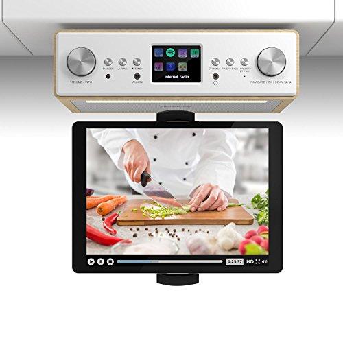 """TESTURTEIL: SEHR GUT* auna Connect Soundchef • mit Tablethalterung • Unterbau-Radio • Küchenradio • Unterbau-Digitalradio • DAB+ • UKW • 2 x 3\""""-Boxen • USB-Port • Fernbedienung • buche"""