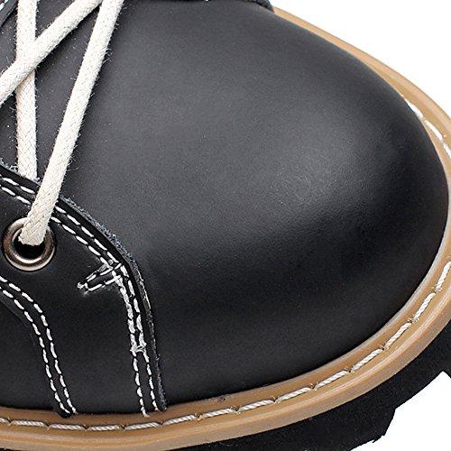 Shenn Herren Knöchel Arbeitsraum Komfort Spaltleder Motorbike Stiefel Schwarz