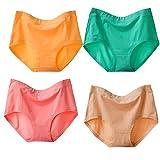 Damen Unterhosen Baumwolle 4er Pack Slips Damen mit Hoher Taille Atmungsaktive Unterwäsche Taillenslips Maxi Soft