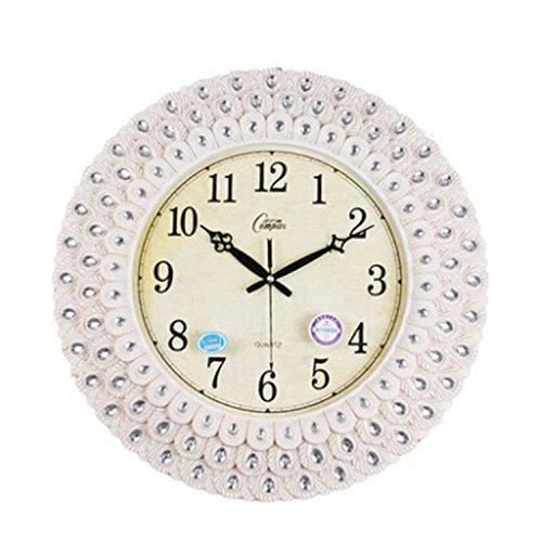 Wanduhr Wanduhr einfache Lounge Fashion Peacock Tail Belt Diamond Clock (Farbe weiß) ()