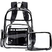 ZHONGYU Mujeres Hombres Viaje Transparente PVC Bolso de Pañal Mochila Mochila Escolar Impermeable Multibolsillos Mochila Escolar Libreta Bolsa Escolar con Pequeña Bolsa, color negro