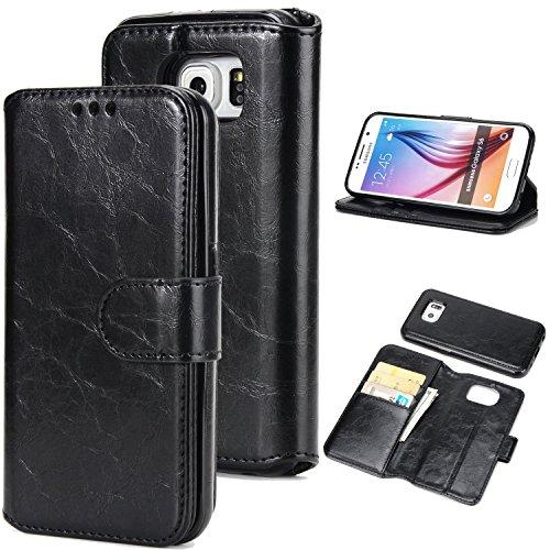 BCIT Samsung Galaxy S6 Leder Handytasche - Geldbörse mit Kartenfach abnehmbar Magnet Handy Schutzhülle für Samsung Galaxy S6 - Braun Schwarz