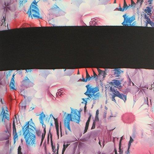 Chocolate Pickle ® Neue Damen Plus Größe Kontrast Blumen Ärmelloses Kurzkleid 36-54 Purple Sunflower