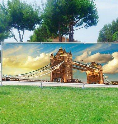 Stickersnews - Brise vue déco personnalisé jardins, terrasses et balcons Londres réf 3608 Occultation - 100%, Dimensions - 180x70cm