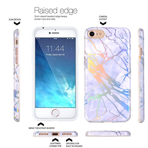 Coque iPhone 7, doujiaz TPU Gel Silicone Protecteur Skin Étui de protection Shell Case Cover Pour Apple iPhone 7 – Marbre design Changer de couleur / Gris
