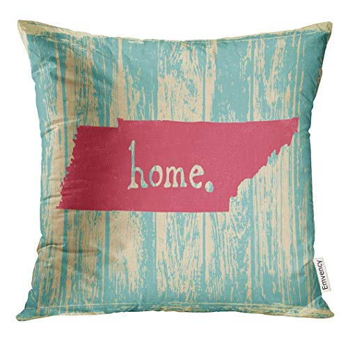 vcbndfcjnd Throw Pillow Cover America Tennessee Nostalgic Rustic Vintage State Sign American Americana Decorative Pillow Case Home Decor Square 20x20 Inches Pillowcase