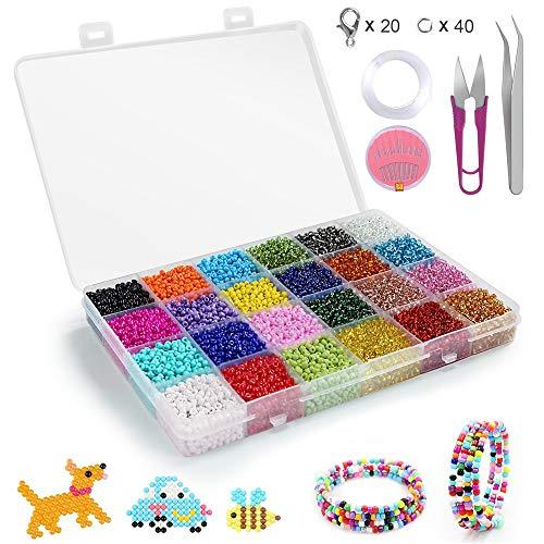 Conjunto de Cuentas de Colores,Abalorios para Hacer Pulseras,24 Colores de Vidrio Perlas...