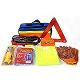 Azlife assistenza su strada auto kit di emergenza con cavi jumper, fune di traino, triangolo di sicurezza, torcia, finestra martello