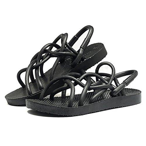 SHANGXIAN Les couples sauvages Flip Flops sandales d'été blanc noir (Buy one, get deux paires) Black