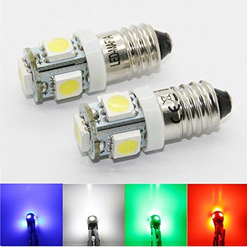 Lot de 10 Ampoules à vis E10 - 12 V EY10 LED SMD - Culot à vis - 12 V - Blanc Rouge Bleu Vert Jaune - Blanc Rouge Bleu Vert Jaune - Éclairage d'intérieur