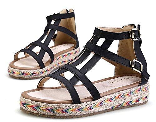 Wealsex plateau sandalen damen Bequeme sommerSchuhe Schwarz