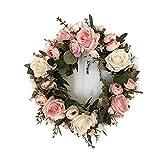 elegantstunning Blumenkranz Blumenkette Girlande Kunstblumen Haare Blumentopf blumenstrauß runde handgefertigt Blumenmuster der Pfingstrose Künstliche Dekoration für Patry Tür Hochzeit