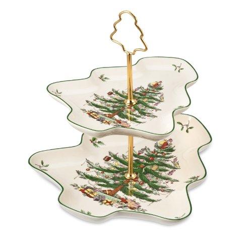 Spode Weihnachtsbaum Christmas Tree Sculpted 2-Tier Server mehrfarbig 2 Spode Christmas Tree
