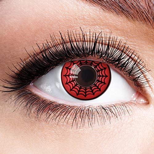 (Farbige Kontaktlinsen Schwarz Rot Ohne Stärke mit Motiv Linsen Halloween Karneval Fasching Cosplay Kostüm Black Red Eyes Schwarze Rote Augen Scary Spider Spinne)