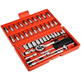 46 Pcs Spanner Socket Set Ratchet Wrench Set Car Repair Tool Box