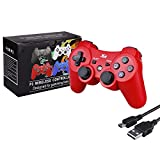 Kabi Bluetooth Wireless Controller for PS3 Controller Double Shock Gamepad 6-Axis Game Controller for Playstation 3 Bonus Free Charging Cable(2017 New)