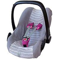 ByBoom® - Universal Sommerbezug, Schonbezug aus Frottee mit Streifen für Babyschale, Autositz, z.B. Maxi Cosi Cabrio Fix, City, Pebble; Designed in Germany, MADE IN EU
