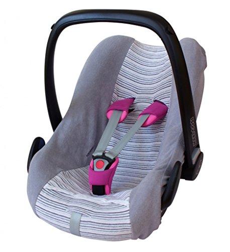 ByBoom® - Universal Sommerbezug, Schonbezug aus Frottee mit Streifen für Babyschale, Autositz, z.B. Maxi Cosi Cabrio Fix, City, Pebble; Designed in Germany, MADE IN EU, Farbe:Grau/Streifen-Grau