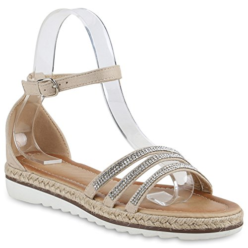 Damen Komfort-Sandalen | Lack-Optik Glitzer Metallic | Sommerschuhe | Plateau Sandalen Sandaletten | Kork Blumen Glitzer Creme Steinchen Camiri
