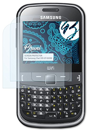 Bruni Samsung Chat 335 (GT-S3350) Folie - 2 x glasklare Displayschutzfolie Schutzfolie für Samsung Chat 335 (GT-S3350)