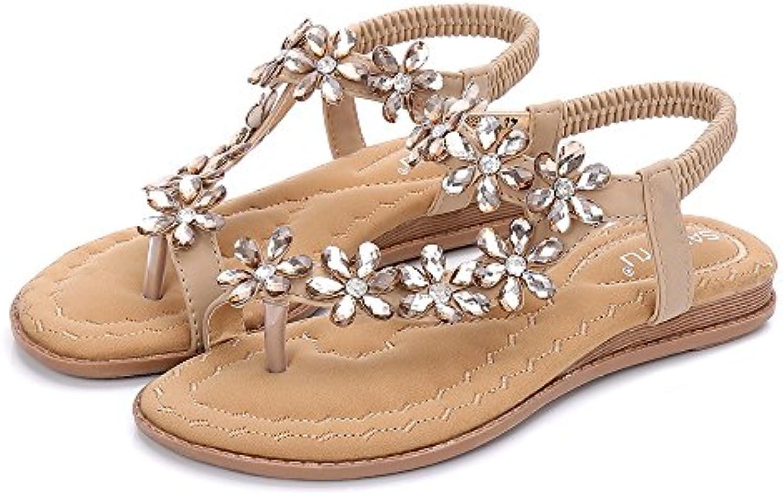 les sandales de cheville strass de bohème de strass style clip toe ethnique plat sandales abricot, 36 01036f