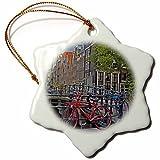 Schneeflocke aus Porzellan, 7,6 cm, dekoratives Hängeornament, Fahrräder an Kanalbrücke Amsterdam Niederlande Marilyn Parver