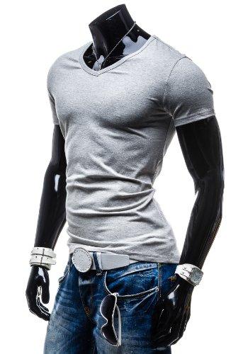 STEGOL Herren T-Shirt Kurzarm Freizeit Figurbetont Slim Fit AK888 Grau