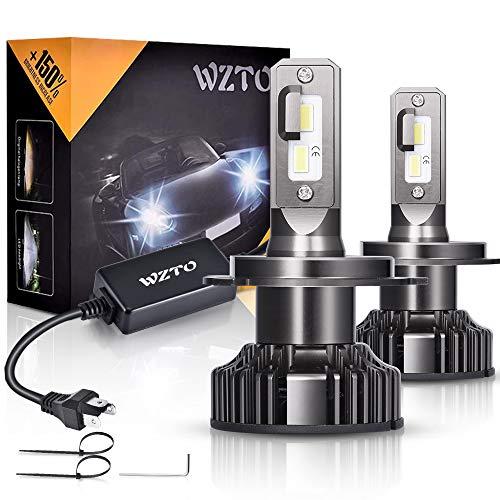 Lampadine LED H4,WZTO 80W 12000LM Fari Abbaglianti o Anabbaglianti per Auto, Lampada Sostituzione per Alogena Lampade e Xenon Luci,Impermeabilità IP67 Kit LED,Chip CSP,12V-24V,6000K Bianco Freddo