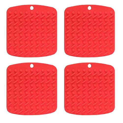 JJOnlineStore-Mehrzweck Küche Silikon Mats-als Topflappen verwendet, Glasöffner, Untersetzer, Löffel Rest, Hot Matte, schälen Knoblauch etc.. Flexible Matte und spülmaschinenfest 4x Red (Knoblauch-matte)