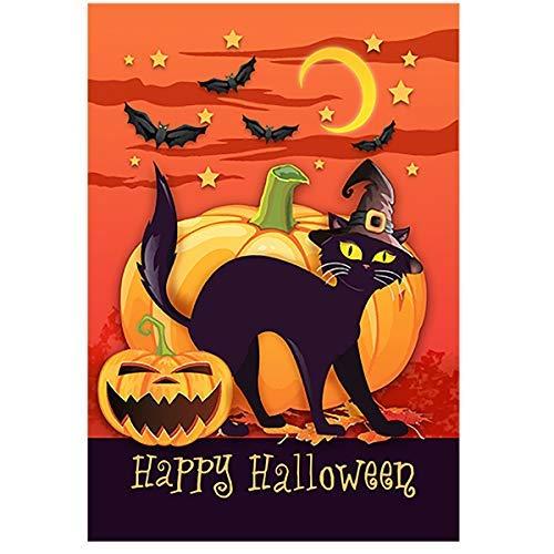 ZGNNN-EU Gruselige Schwarze Kürbis-Deko für Halloween, Haus und Garten, 12 x 18 cm, doppelseitig, für den Außenbereich, Hof, Zuhause, Partydekoration