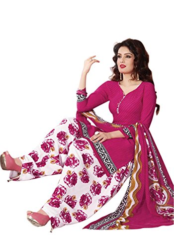 Raghavjee Women\'s Crepe Unstitched Patiala Salwar Suit with Dupatta