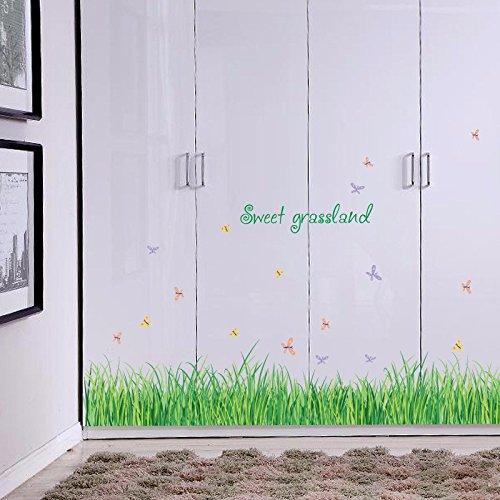 Piccolo prato farfalle battiscopa bagno armadio porta adesivo decorativo da